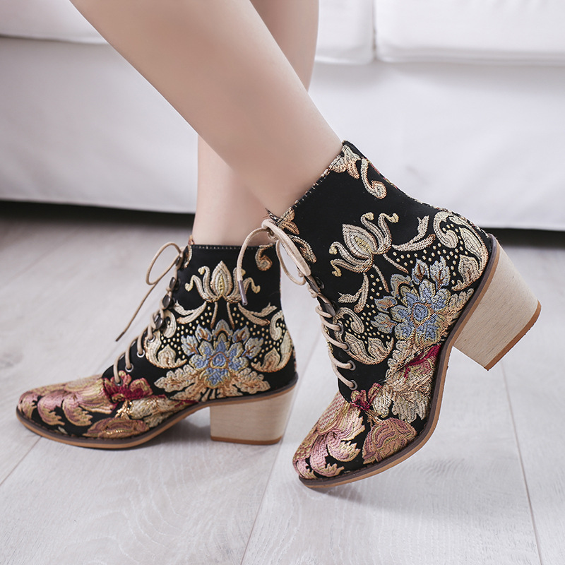 BONJOMARISA New Autumn Drop Ship 35 43 Brand Embroider Booties Ladies High Heels Ankle Boots Women 2019 Fashion OL Shoes Woman in Ankle Boots from Shoes