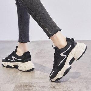 Image 3 - 2020 インホット販売春ファッション女性カジュアルシューズ革の厚底靴女性スニーカーレディースホワイトトレーナー Chaussure ファム