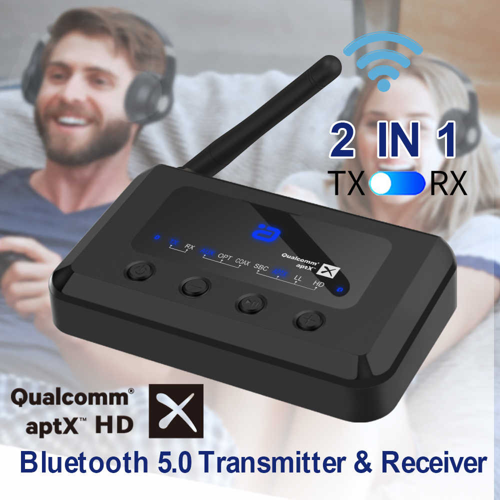 Senza fili di Bluetooth 5.0 HD Audio ricevitore trasmettitore aptX LL /HD 2-In-1 Adattatore Audio per la TV/Altoparlanti Ottico Coassiale 3.5m MR265