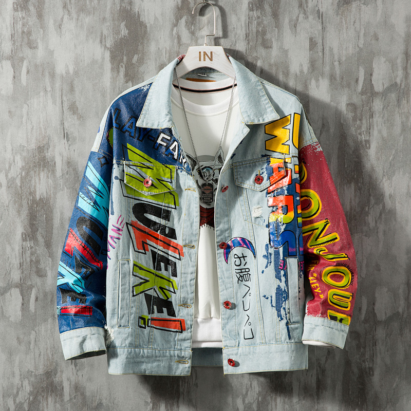 YASUGUOJI Hip Hop Fashion Printed Jeans Jacket Men Cotton Casual Streetwear Short Style Denim Jacket Coat For Men Spring Jackets