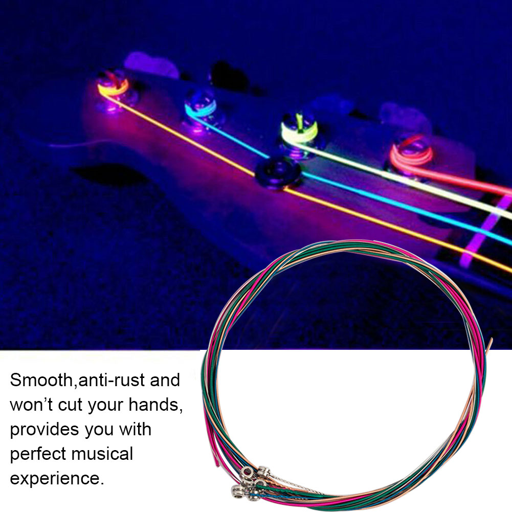 6pcs/set Part Sound Acoustic Durable For Musical Instruments Stable Guitar String Folk Steel Rustproof Colorful Electric Bass