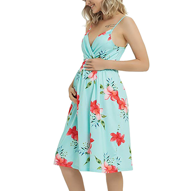 Long Maternity Floral Dresses for Women 2