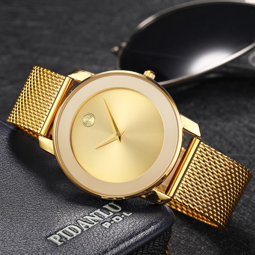 MISSFOX 40MM Women Watches Minimalist Ultra Thin Steel Mesh Watch Fashion Casual Waterproof 18K Gold Ladies Quartz-Watch Girls 1