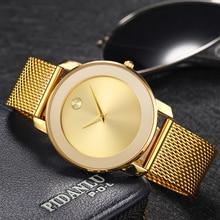 MISSFOX 40MM נשים שעונים מינימליסטי אולטרה דק רשת פלדת שעון אופנה מזדמן עמיד למים 18K זהב גבירותיי קוורץ שעון בנות