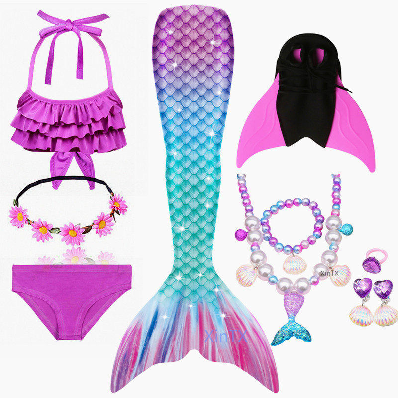 2020 NEW Arrival Rainbow Pink Mermaid Tail Swimsuit with Fin for Kids Girls Holiday Dress Costume Bathing Suit