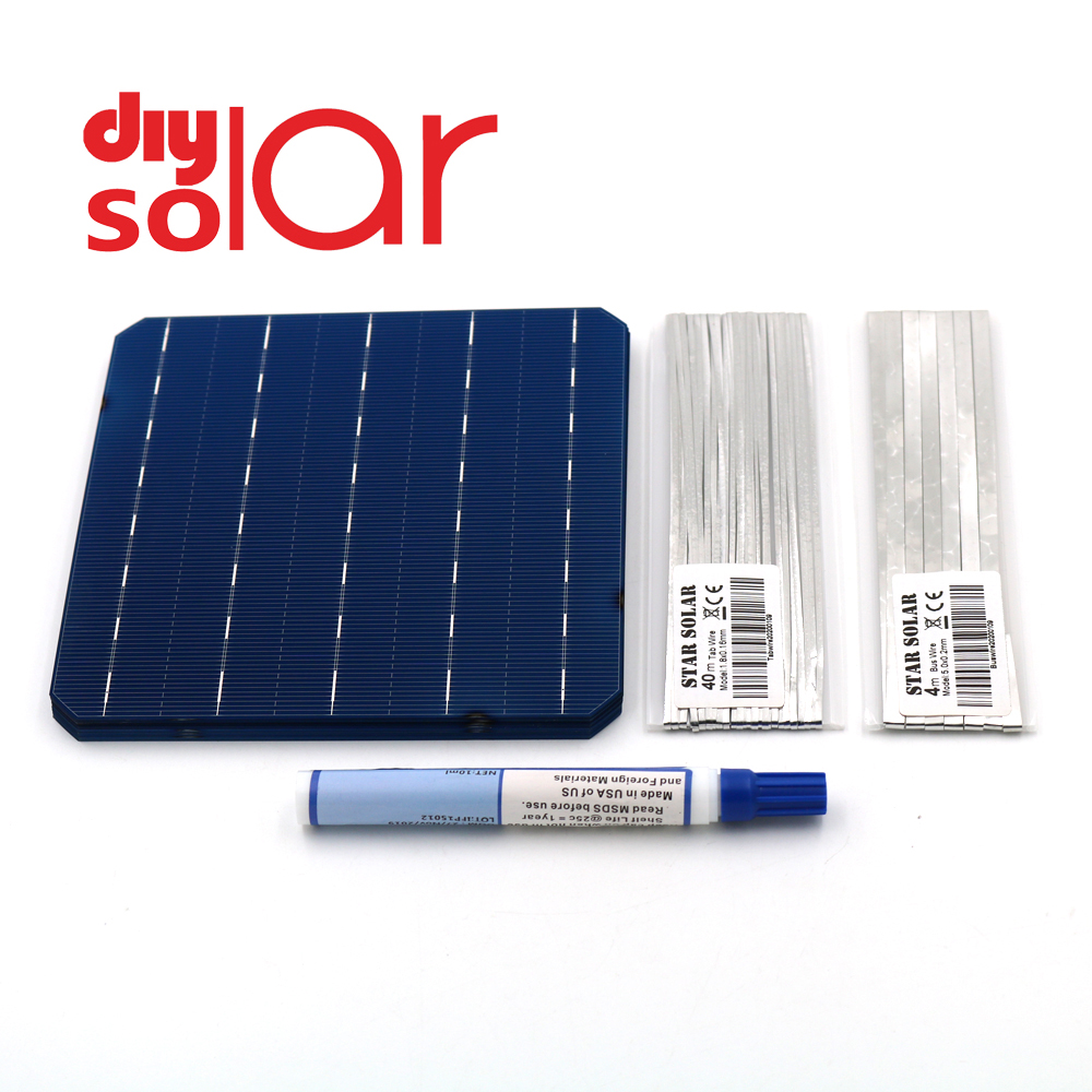 Mono Solar Panel DIY 400 350 300 250 200 150 100 W Watt Charger Kit Monocrystall Solar Cell Tabbing Wire Busbar Flux Pen 125 156 image