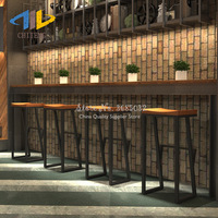 2019 Retro Modern Bar Stools Bar Chair Creative High Stool Steady Stylish Wrought Iron Solid Wood Leisure Front Coffee Chair