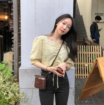 new belt yellow short shirt Summer femme Casual Vintage Women Blouses Short sleeve Plaid Cotton Girls Blouse Top