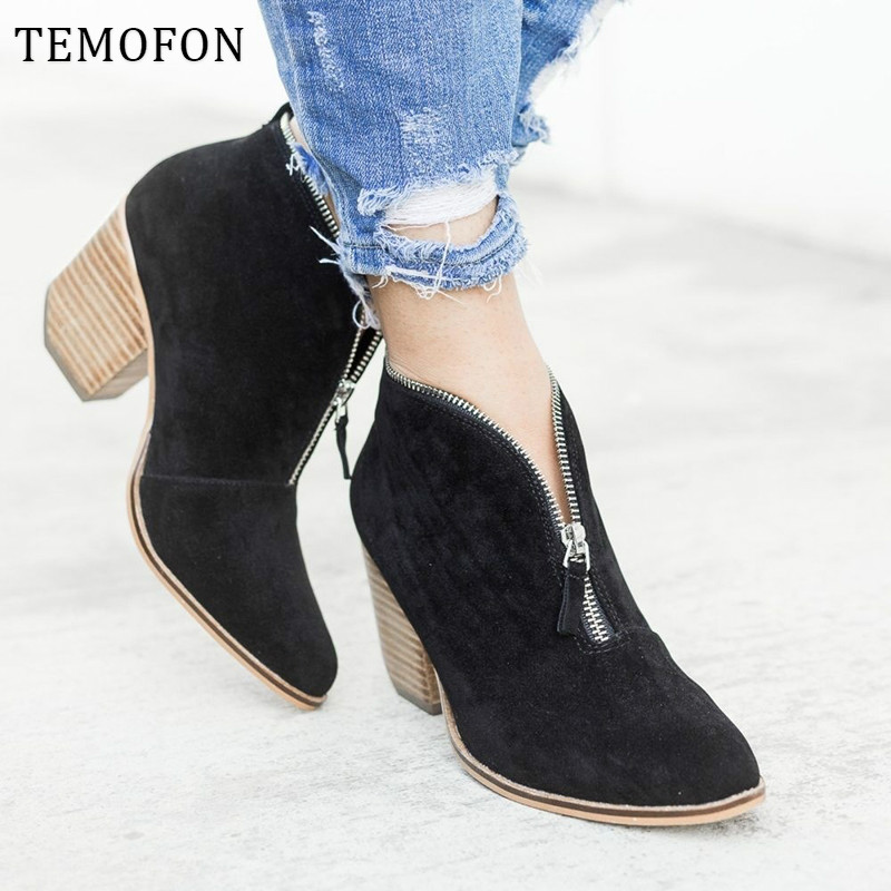 Leopard Ankle Boots Women Square Low Heel Suede Martin Boots With Zipper Round Toe Ladies Winter Shoes Wedge Bootie Sexy HVT388