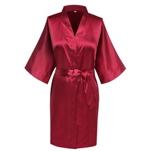 Burgundy Home Clothes Dress Satin Women Sleepwear Nightgown Kimono Bathrobe Sexy Bride Bridesmaid Wedding Robe Negligee