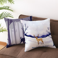 45*45 Merry Christmas Cushion Cover Polyester Red Sofa Throw Pillow Covers Home Decor Chair Pillowcase