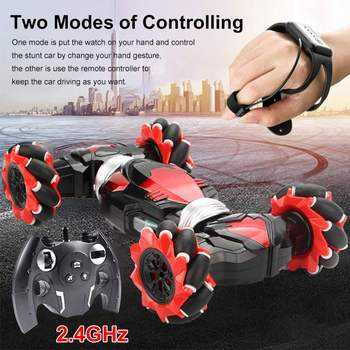 2.4GHz 4WD RC Car Radio Gesture Induction Music Light Stunt Twist Remote Control Car Road Drift Vehicle RC Gifts for Children 2