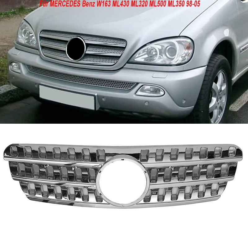 MagicKit Front Grilles Grill <font><b>For</b></font> MERCEDES Benz W163 <font><b>ML430</b></font> ML320 ML500 ML350 98-05 Chrome Sport Grille Mesh Grill Vent Trim image