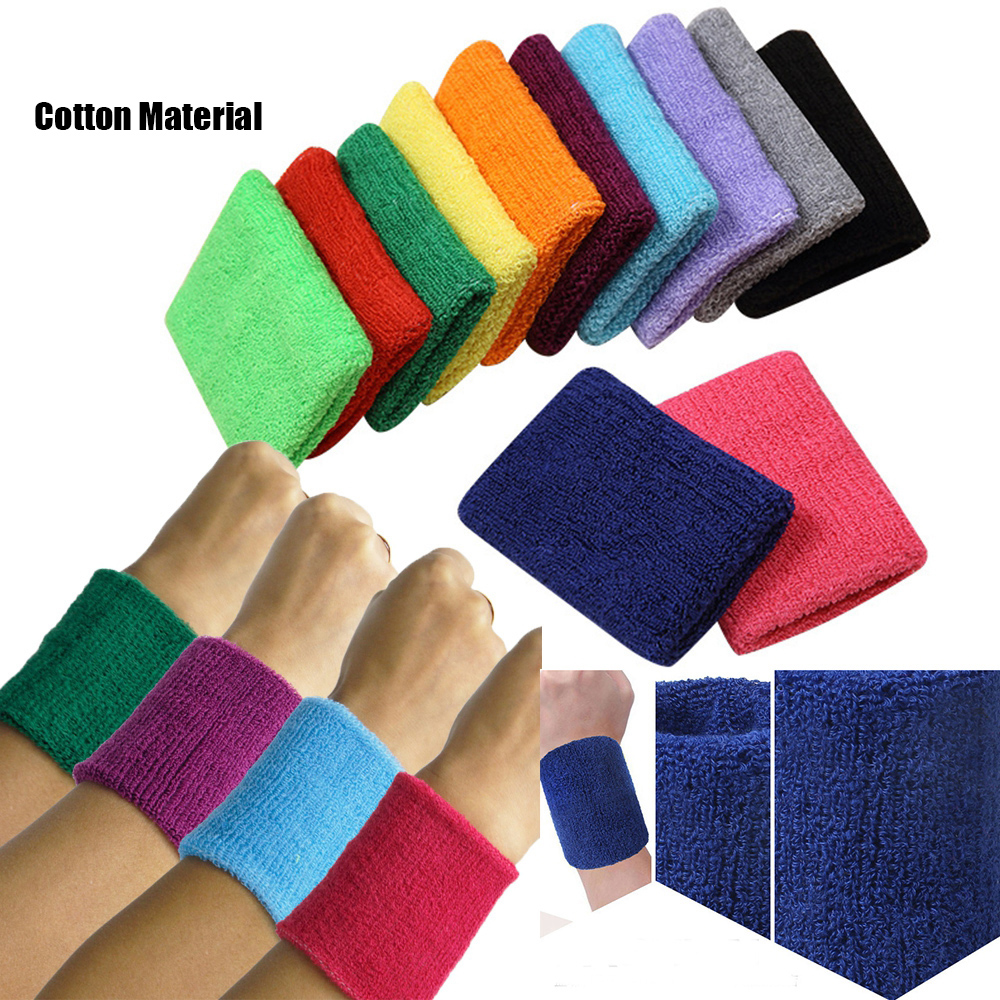 1PC Colorful Sport Sweatband Wristbands Cotton Fiber Sweat Wrist Guards Teenagers Tennis Hand Band Volleyball Sports Accessories 1