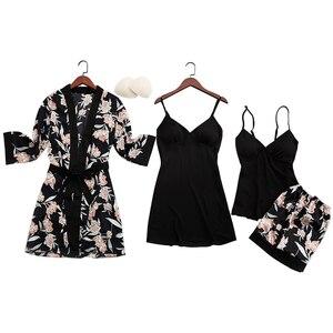 Image 5 - Qweekセクシーな女性のパジャマシルク2020プリント女性pijamasパジャマ4点スパゲッティストラップサテンパジャマ胸パッド