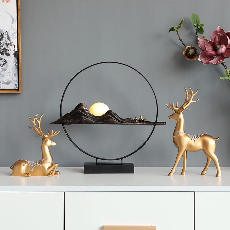 Conjunto de resina de 2 escultura de venado para decoración del hogar y la Oficina, regalo de decoración de escritorio, arte moderno para sala de estar, accesorios de decoración del hogar