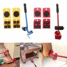 5 pièces/ensemble Kit de curseurs de levage de meubles Profession lourde meubles rouleau déplacer Kit doutils barre de roue dispositif de déplacement Max 100Kg/220Lbs
