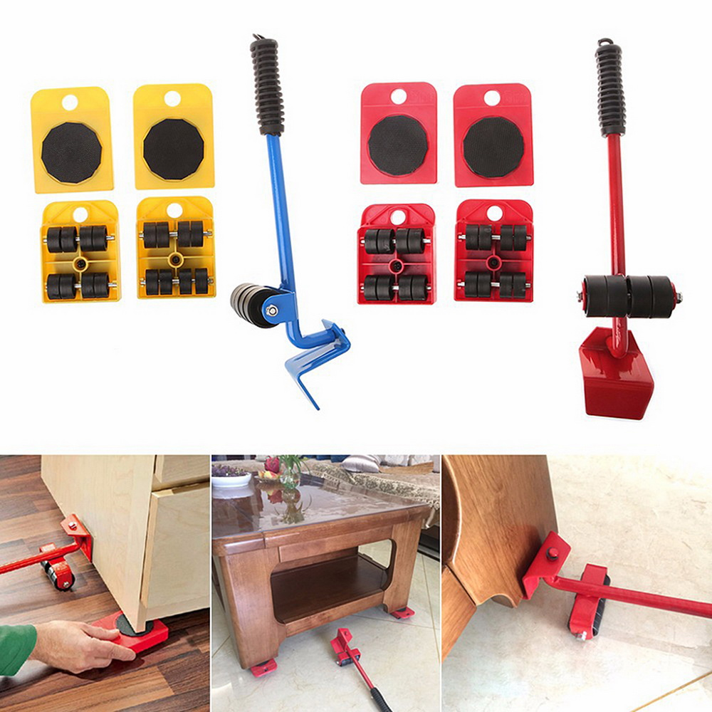 5Pcs/Set Furniture Lifter Sliders Kit Profession Heavy Furniture Roller Move Tool Kit Wheel Bar Mover Device Max Up 100Kg/220Lbs title=