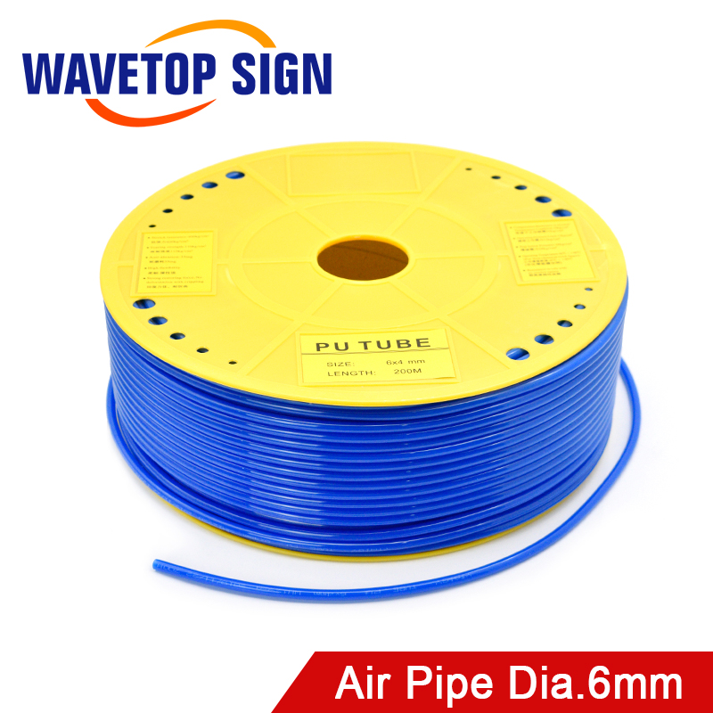 WaveTopSign Air Pipe Air Hose Outer Diameter 6mm 6x4mm PU Tube For Air Compressor CO2 Laser Engraving Cutting Machine
