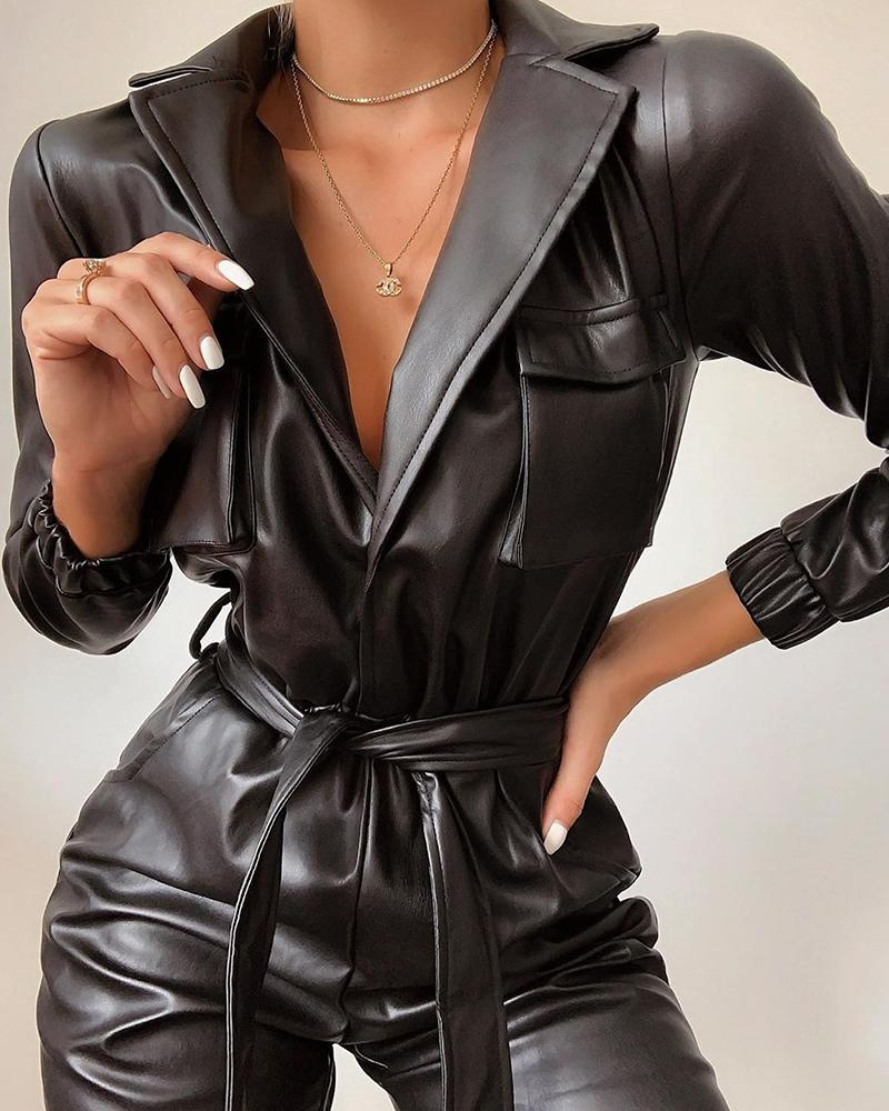 Women Black PU Jumpsuit Winter Autumn Faux Leather Jumpsuit With Belt