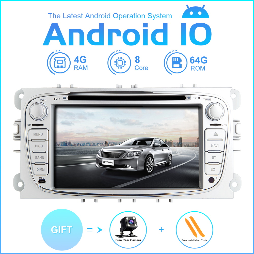 ZLTOOPAI AutoRadio Android10 For Ford Focus 2 S-Max C-Max Mondeo 4 Galaxy Kuga 2008-2010 GPS Tape Recorder Car Multimedia Player image