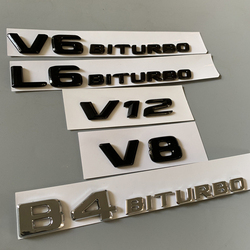 Emblema de letra para Mercedes Benz V8 V12 V6BITURBO L6BITURBO B4BITURBO insignia de maletero de estilo de coche doble Turbo adhesivo cromado negro