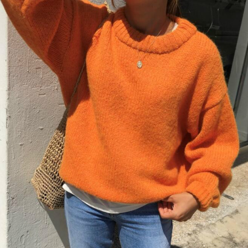 Women Autumn Winter Knitted Sweaters Pullover Tops Thicken Jumper Puff Sleeve Orange Pull Femme Casual Jesery Swetry Damskie