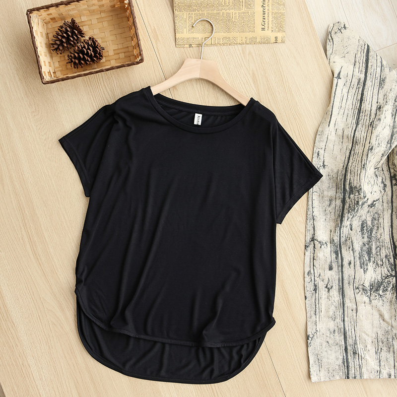 H20752948d95545d6963a6c377f3e63d5K - 100% cotton Loose Casual Summer Short Sleeve Female T shirt Women asymmetric O-neck Tee Tops M30326