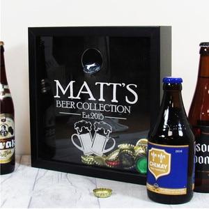 Персонализированная пивная Кепка, деревянная коробка для теней, подарок на день отцов, свадебная Кепка на память, пивная Кепка, держатель дл...