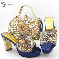 High Class Dark Blue Party Set High Heel Shoes And Bag Set With Peacock Decoration MD015 Heel Height 10.5CM