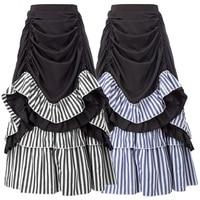 SD Women's Retro Skirt Steampunk Victorian Elastic Waist Ruffled Skirt Adjustable Length High Waist Lady Fashion Skirt