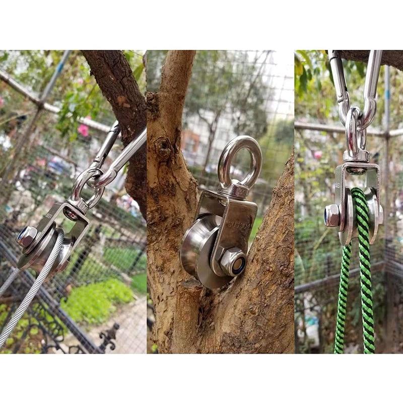 U Type Swivel Pulley 304 Stainless Steel Duplex Bearing Silent Detachable 360 Degree Rotation Heavy Duty Traction Wheel