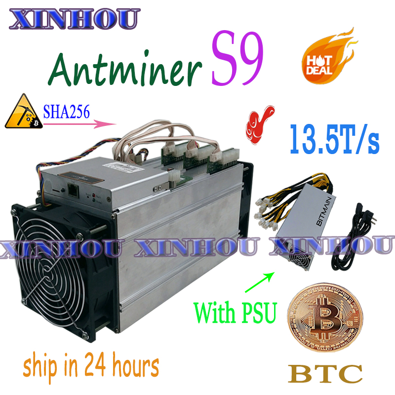US $320.0  Used BTC BCH Miner AntMiner S9 13.5T Asic sha256 Bitcoin miner With BITMAIN APW3++ 1600W PSU Economic Than S9 S11 WhatsMiner M3X in Network