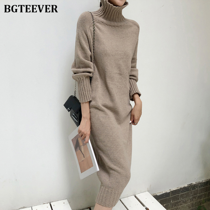 Elegant Turtleneck Knitted Dress Women Autumn Loose Female Sweater Dress Winter Thicken Knitted Pullovers Dress Vestidos 2019