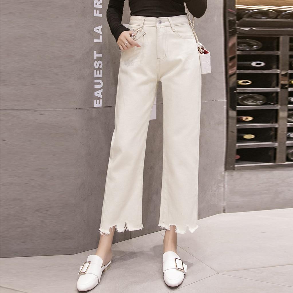 Fashion Women Mid High Waist Jeans Casual Straight Tube Wide Leg Pants Burrs Jeans korean streetwear denim pants Mom Jeans 2020