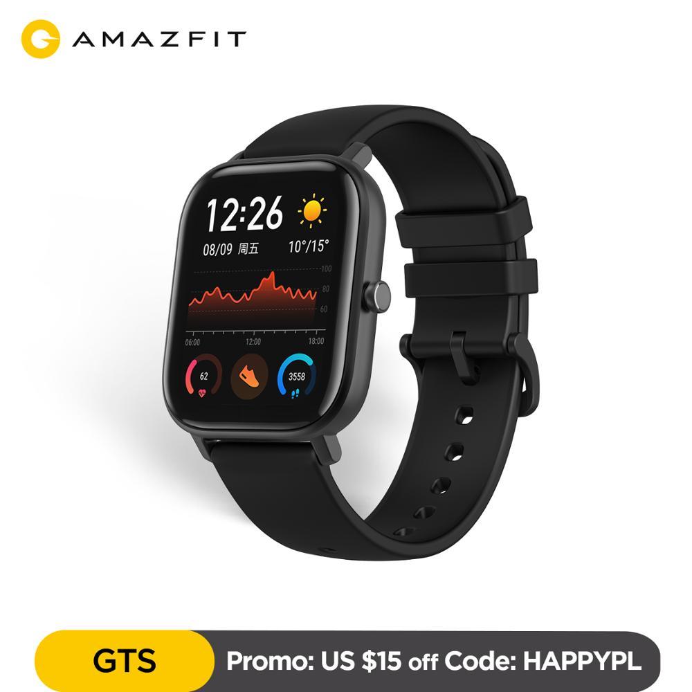 Versão global amazfit gts relógio inteligente 5atm à prova d14 água smartwatch 14 dias bateria gps