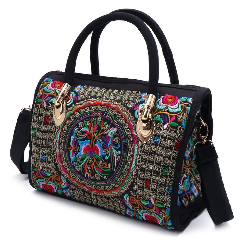 New Arrive Women Floral Embroidered Handbag Ethnic Boho Canvas Shopping Tote Zipper Bag