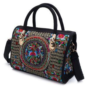 Image 1 - New Arrive Women Floral Embroidered Handbag Ethnic Boho Canvas Shopping Tote Zipper Bag