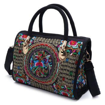 New Arrive Women Floral Embroidered Handbag Ethnic Boho Canvas Shopping Tote Zipper Bag canvas ethnic print tote bag