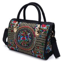 Nieuwe Aankomen Vrouwen Bloemen Geborduurde Handtas Etnische Boho Canvas Shopping Tote Rits Zak