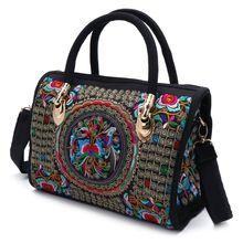 Yeni gelmesi kadın çiçek işlemeli çanta etnik Boho tuval alışveriş Tote fermuarlı çanta