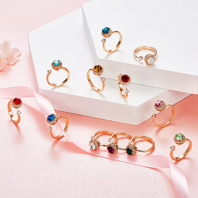 Crystal Fashion Rings - 12 Colors 2