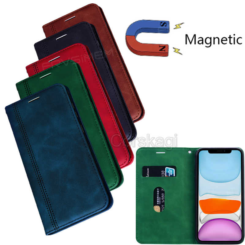 Sterke Magneet Leather Case Flip Wallet Stand Cover Voor Apple Iphone Se 2020 11 Pro Max 7 8 6 6S Plus X Xs Xr