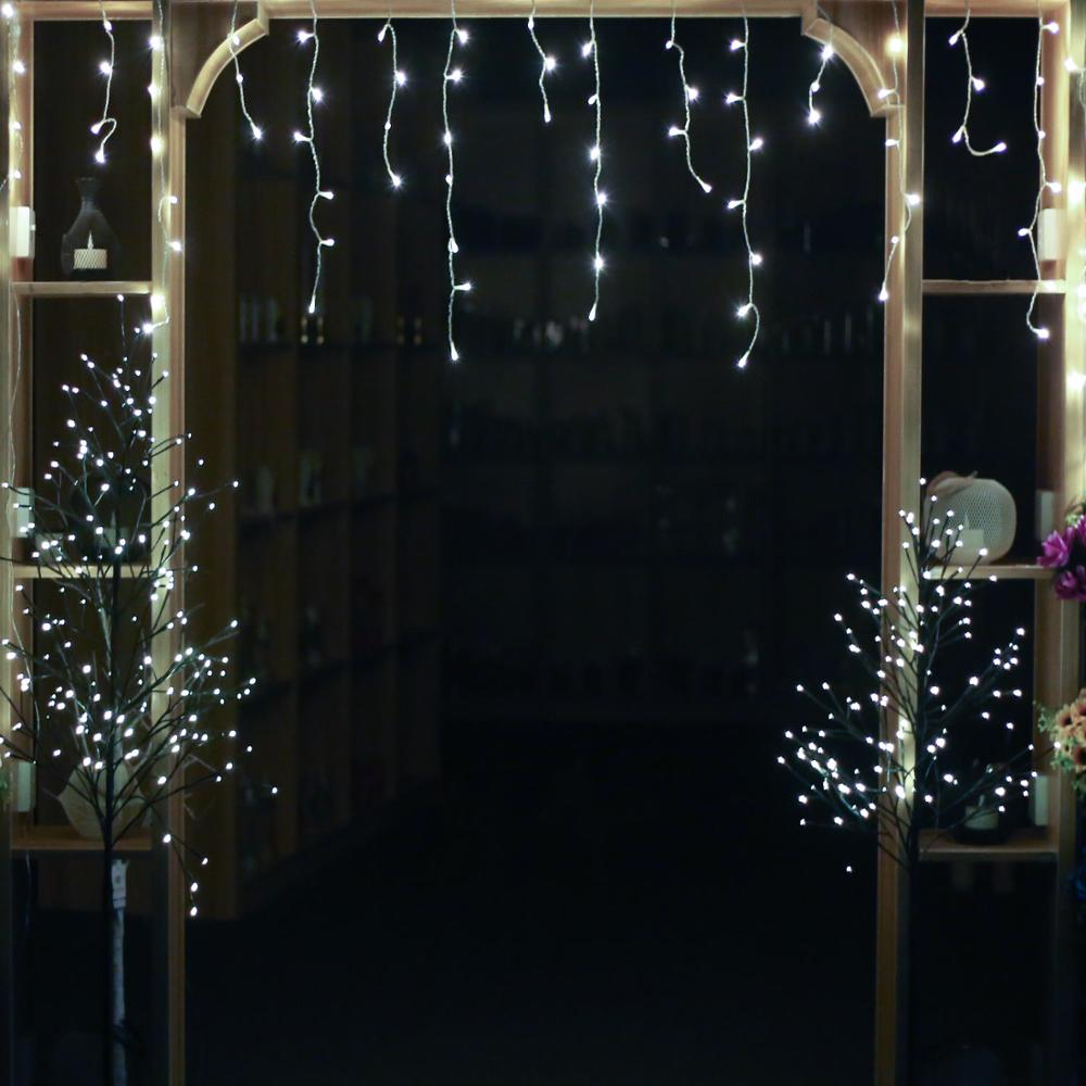 300Leds Icicle string lights, Window Curtain Icicle String Light clear cable,icicle lights for Home Garden Outdoor Indoor Wall
