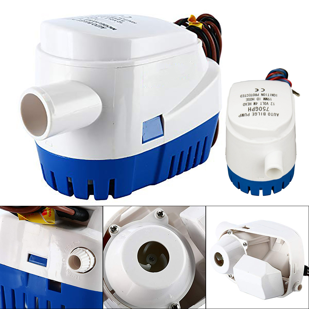 Automatic <font><b>Bilge</b></font> Water <font><b>Pump</b></font> <font><b>12V</b></font> 24V 600GPH <font><b>750GPH</b></font> 1100GPH For Submersible Auto <font><b>Pump</b></font> With Float Switch Electric <font><b>Pump</b></font> For Boats image