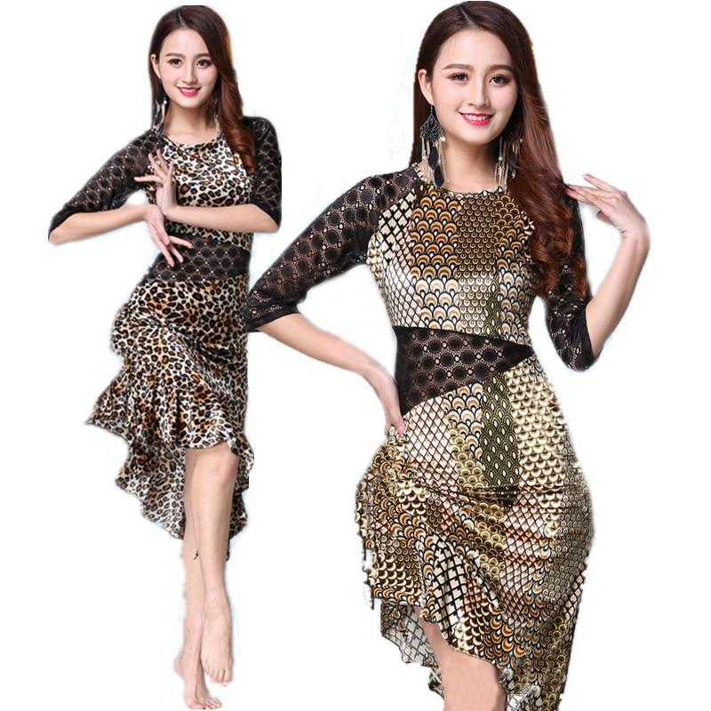 Leopard Grain Latin Dance Latin Dance Dress For Women Lady International Standard Ballroom Cha Cha Salsa Dancing Latin Dresses