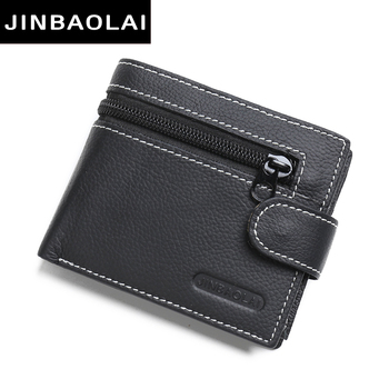 Genuine Leather Wallet Men New Purses For Men Black Bifold Wallet Zipper Coin Purse Wallets With Gifts High Coin Pocket Wallets