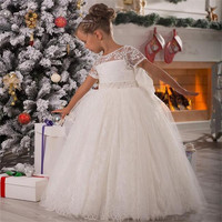 Short Sleeves Flower Girl Dresses With Pearls Party Pageant Gowns First Kids Communion Dress for Wedding Girls Birthday Dresses
