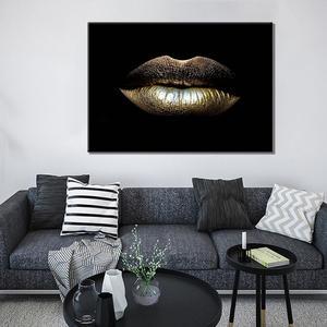Quadros de lona nórdico gradiente lábios de ouro sexy casa decoração cartazes arte da parede moderno quarto quadro modular fotos