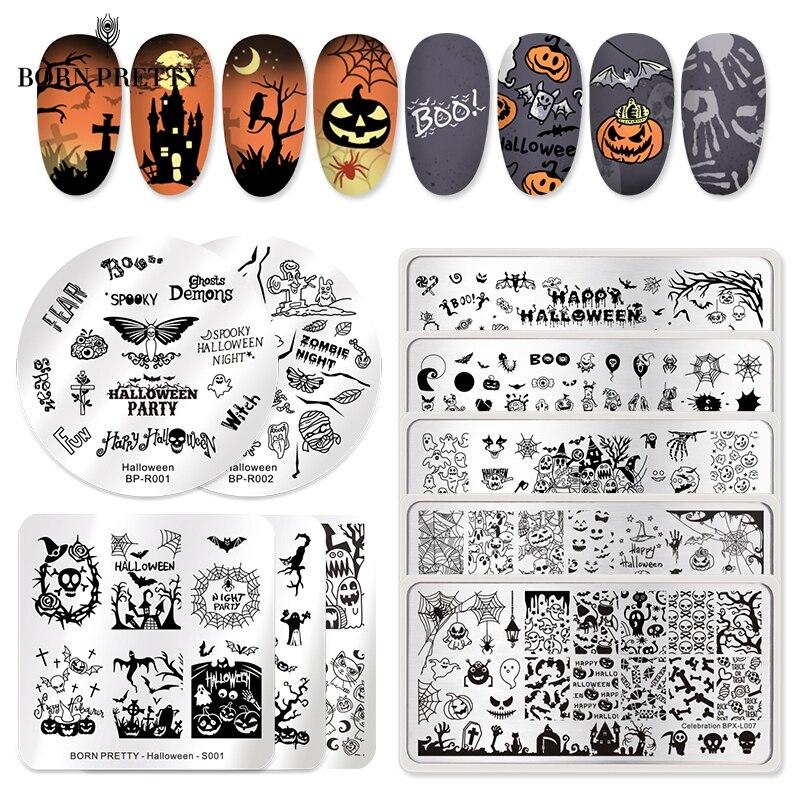 Трафареты BORN PRETTY для ногтей на Хэллоуин, штампы для ногтей, инструменты для маникюра, лак для стемпинга